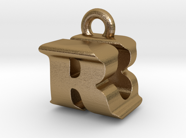 3D Monogram - RUF1 in Polished Gold Steel