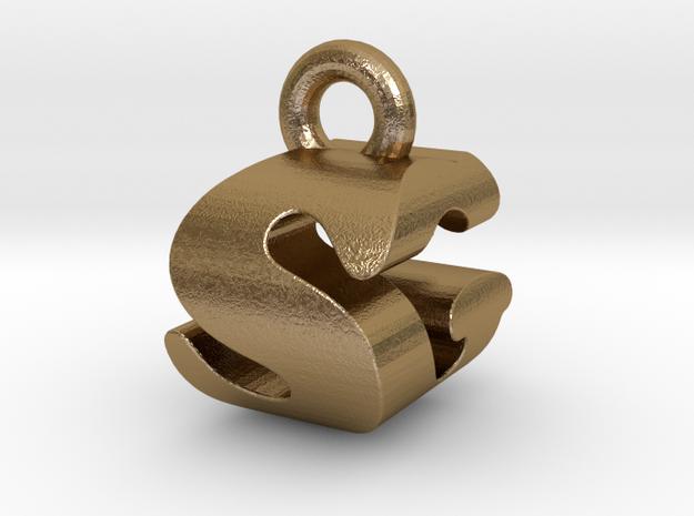 3D Monogram - SGF1 in Polished Gold Steel