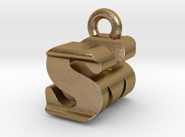 3D Monogram - SMF1 in Polished Gold Steel