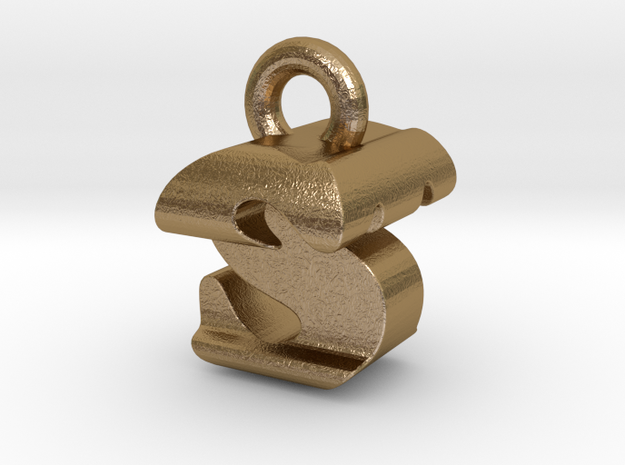 3D Monogram - STF1 in Polished Gold Steel