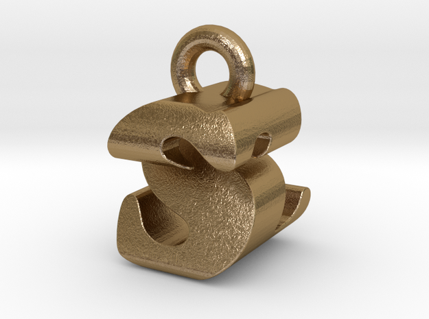 3D Monogram - SZF1 in Polished Gold Steel