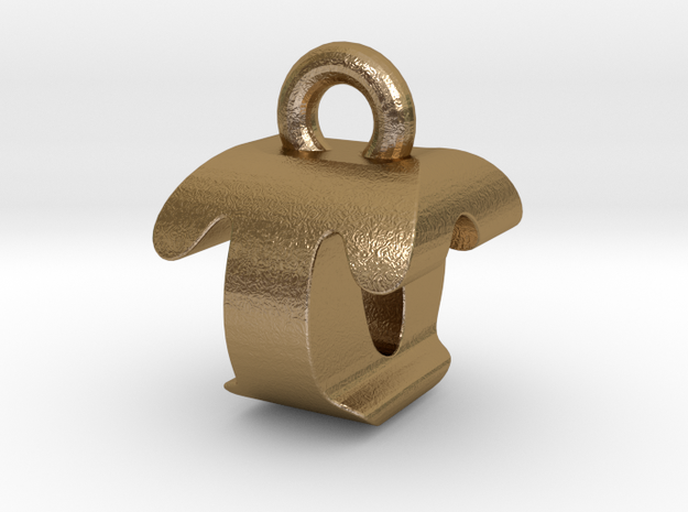 3D Monogram - TOF1 in Polished Gold Steel
