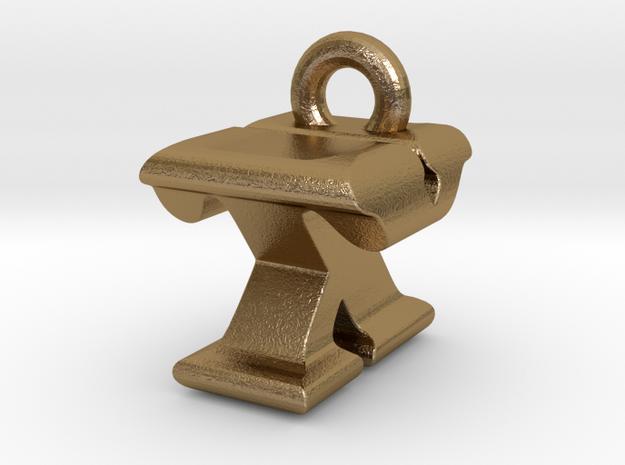3D Monogram - TXF1 in Polished Gold Steel