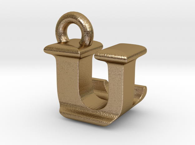 3D Monogram - ULF1 in Polished Gold Steel