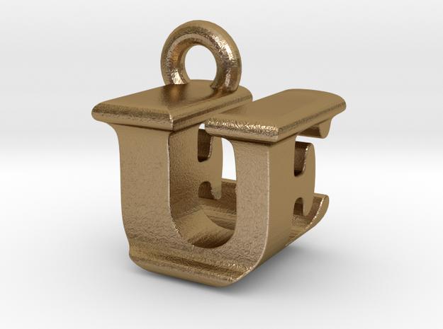 3D Monogram - UEF1 in Polished Gold Steel