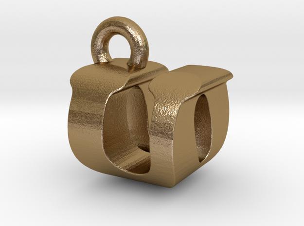 3D Monogram - UOF1 in Polished Gold Steel