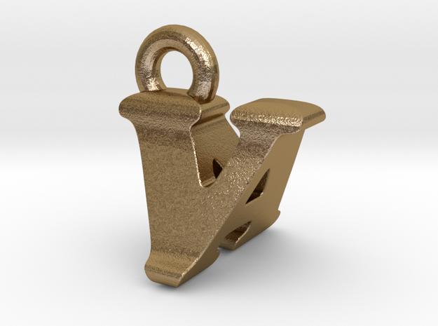 3D Monogram - VAF1 in Polished Gold Steel
