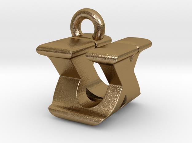 3D Monogram - UXF1 in Polished Gold Steel