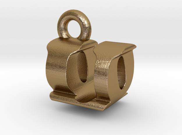 3D Monogram - UQF1 in Polished Gold Steel