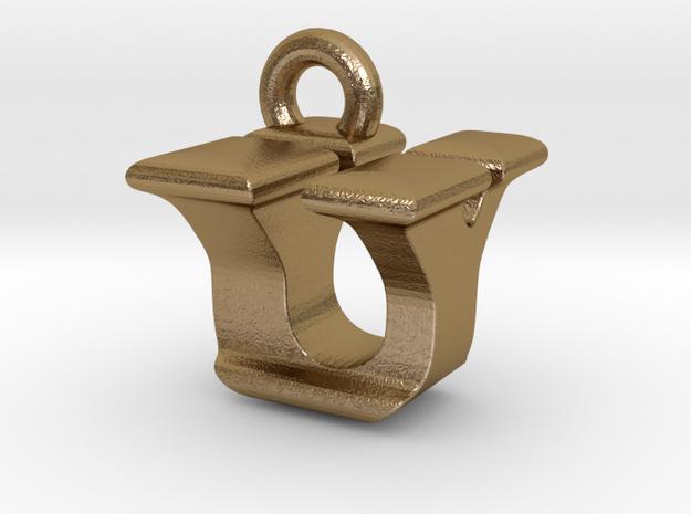 3D Monogram - UYF1 in Polished Gold Steel