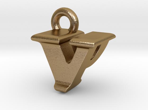 3D Monogram - VPF1 in Polished Gold Steel