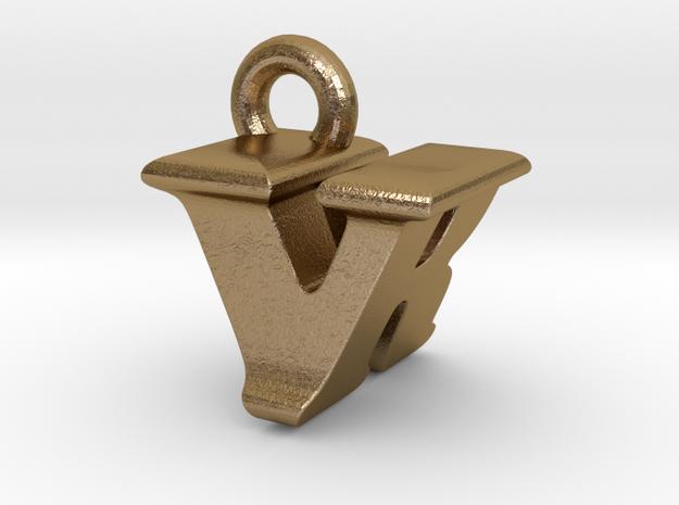 3D Monogram - VRF1 in Polished Gold Steel
