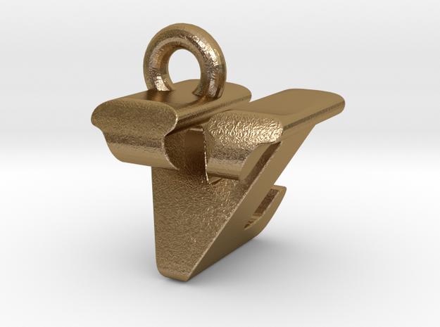 3D Monogram - VZF1 in Polished Gold Steel