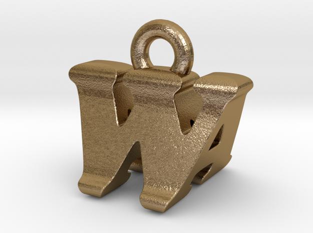 3D Monogram - WAF1 in Polished Gold Steel