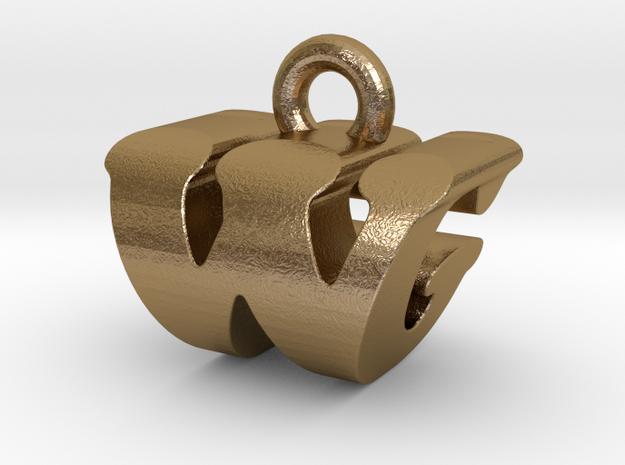 3D Monogram - WGF1 in Polished Gold Steel