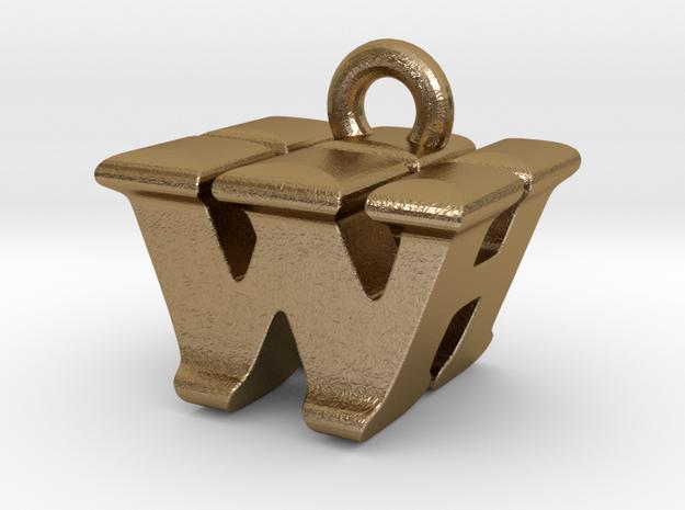 3D Monogram - WHF1 in Polished Gold Steel