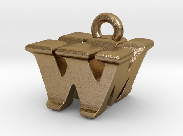 3D Monogram - WMF1 in Polished Gold Steel