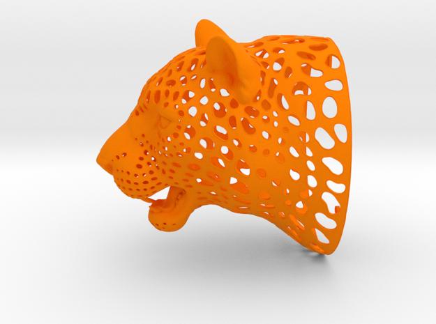 Leopard Head sculpture. WT-1. 15 cm in Orange Processed Versatile Plastic