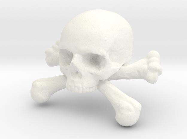 12mm .47in Skull & Bones for earring in White Processed Versatile Plastic