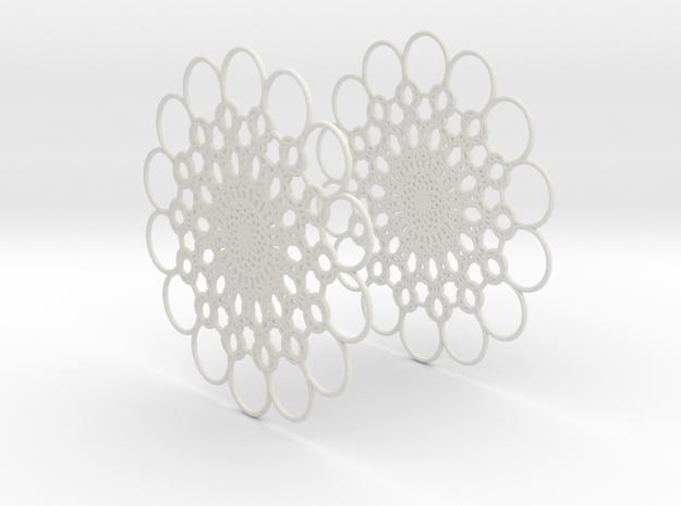 Flowerish 10 Big Hoop Earrings 60mm in White Natural Versatile Plastic