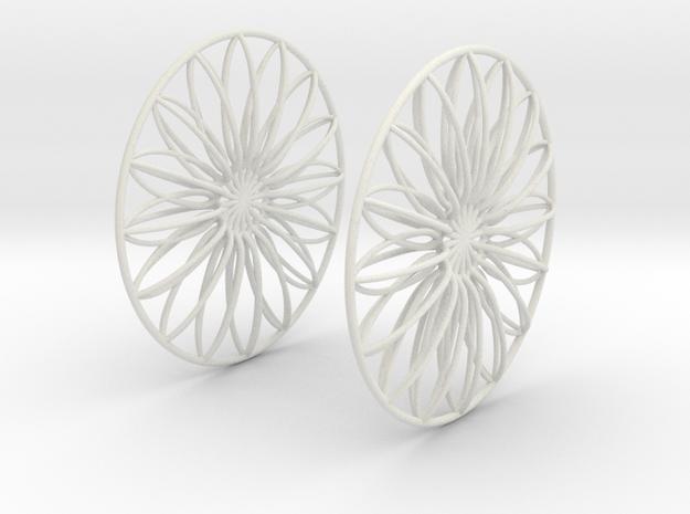 Flowerish 9 Big Hoop Earrings 60mm in White Natural Versatile Plastic