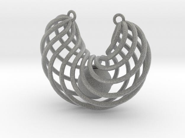 Pendant with captured bead 3d printed