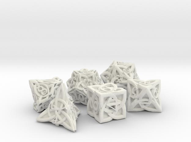Celtic Dice Set - Solid Centre for Plastic in White Natural Versatile Plastic