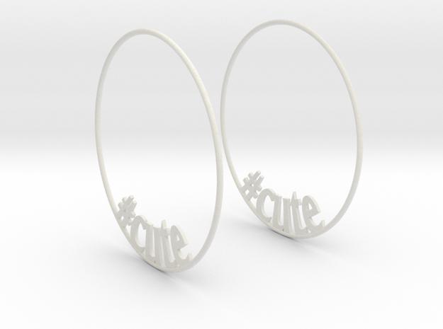 Hashtag Cute Big Hoop Earrings 60mm in White Natural Versatile Plastic