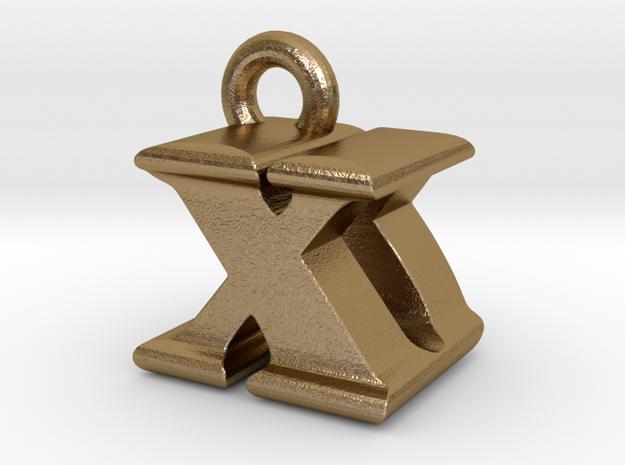 3D Monogram - XDF1 in Polished Gold Steel