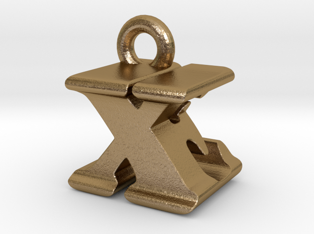 3D Monogram - XEF1 in Polished Gold Steel