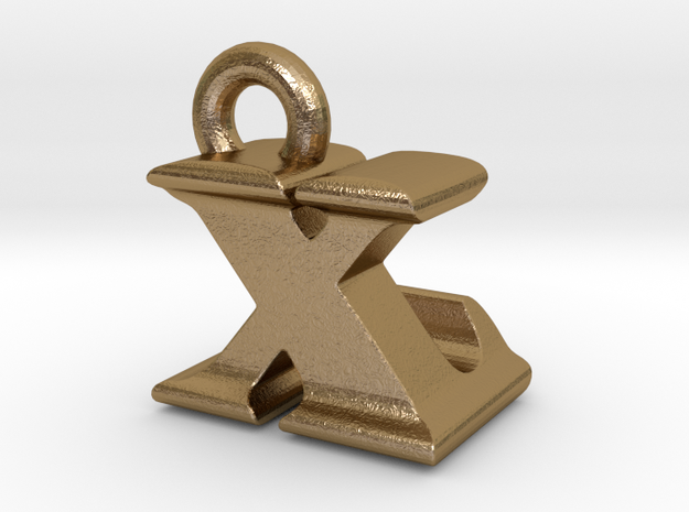 3D Monogram - XLF1 in Polished Gold Steel