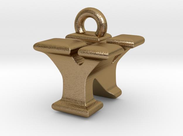 3D Monogram - YNF1 in Polished Gold Steel