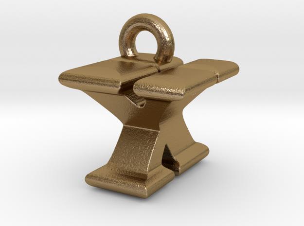 3D Monogram - YXF1 in Polished Gold Steel