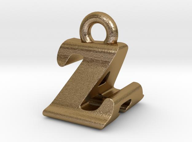 3D Monogram - ZAF1 in Polished Gold Steel