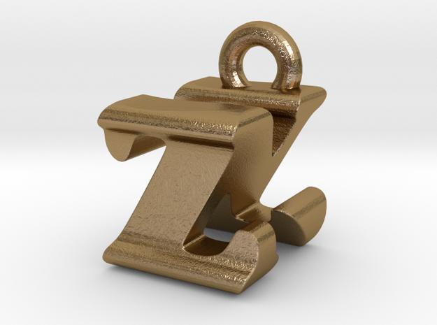 3D Monogram - ZNF1 in Polished Gold Steel