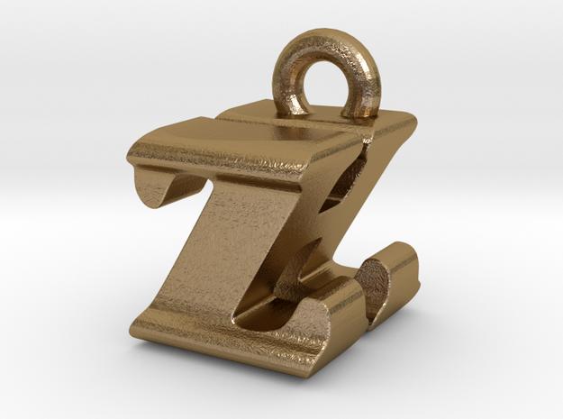 3D Monogram - ZHF1 in Polished Gold Steel