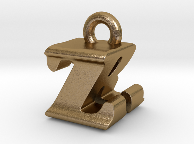 3D Monogram - ZRF1 in Polished Gold Steel