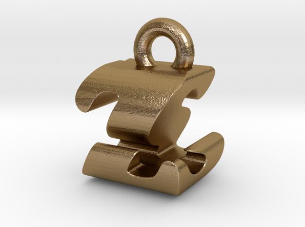 3D Monogram - ZSF1 in Polished Gold Steel
