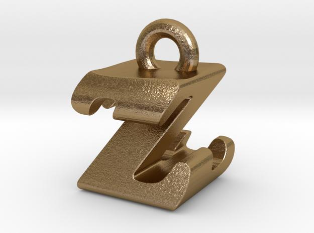 3D Monogram - ZZF1 in Polished Gold Steel