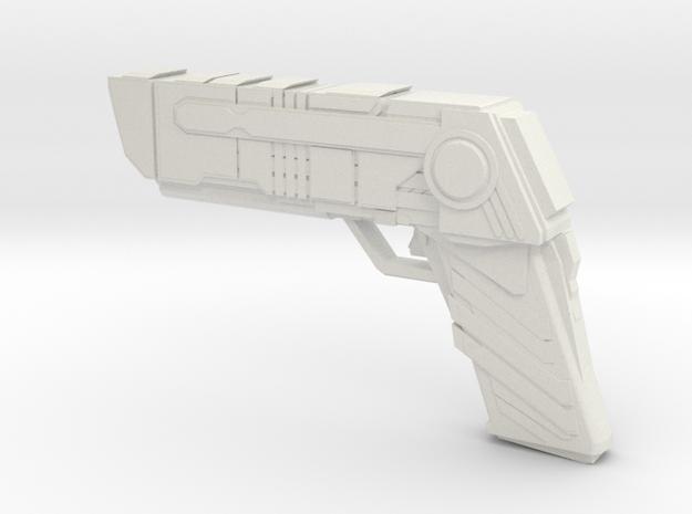 Futuristic handgun Concept in White Natural Versatile Plastic