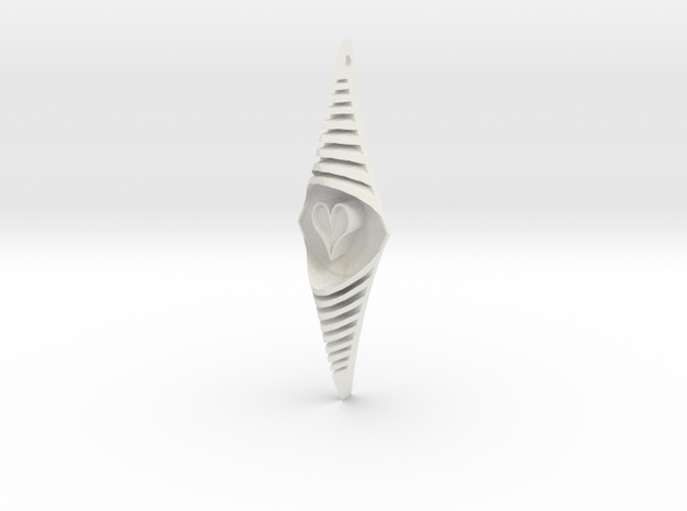 The bouncing heart 15cm in White Natural Versatile Plastic