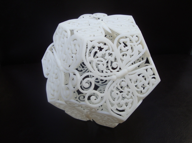 Butterfly Dodecahedron 01 in White Natural Versatile Plastic