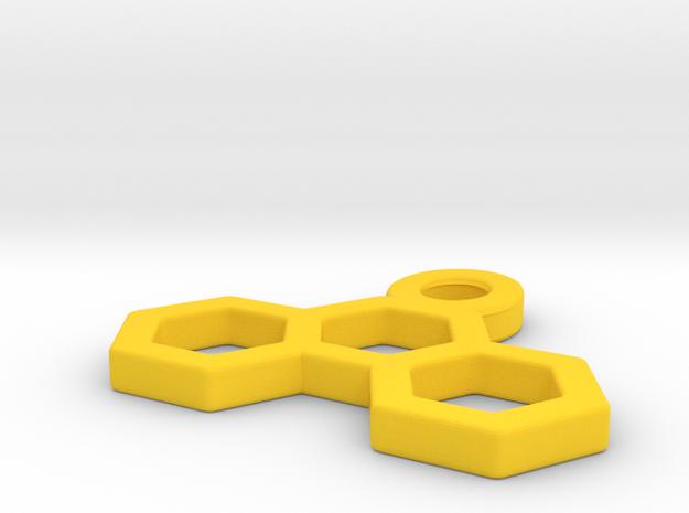 Pendant Three Hexagons in Yellow Processed Versatile Plastic