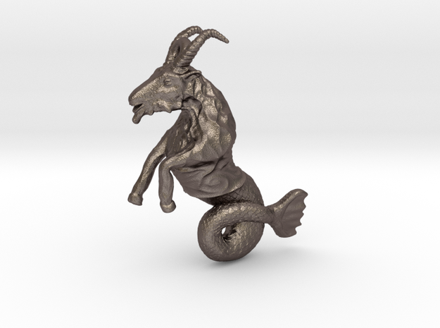 Capricorn Pendant - 2.6cm in Polished Bronzed Silver Steel