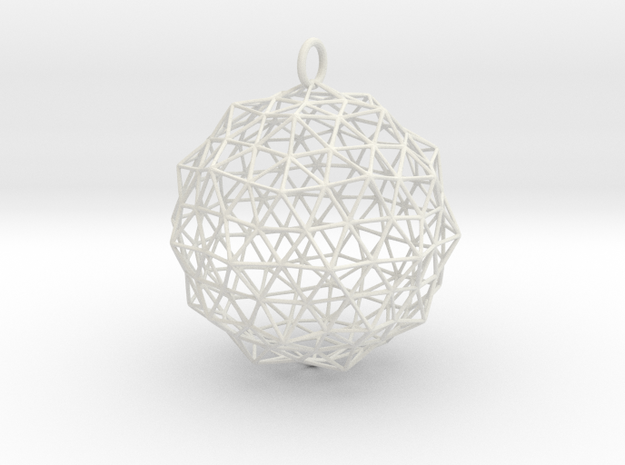 Christmas Bauble 1 in White Strong & Flexible