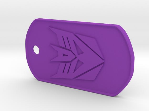 Decepticon Dog Tag (Rimmed) in Purple Processed Versatile Plastic