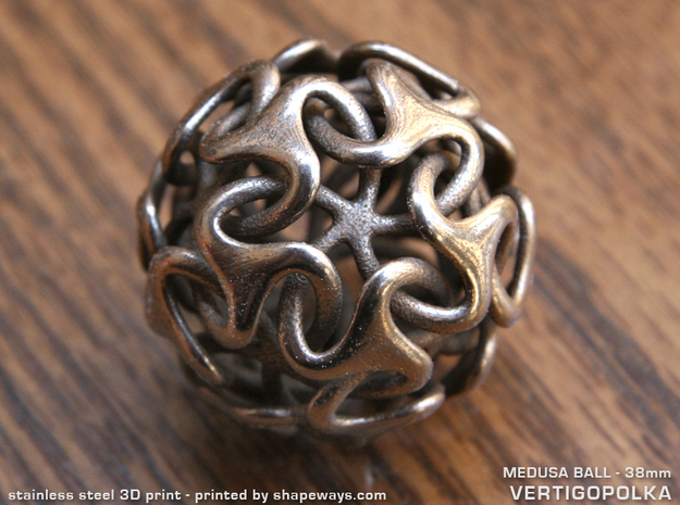 Medusa Ball 38mm in Polished Bronzed Silver Steel