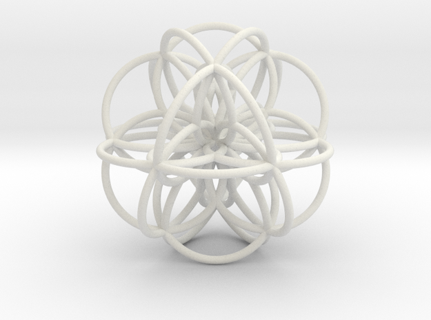 Seed of Life: Cuboctahedral Flower in White Natural Versatile Plastic