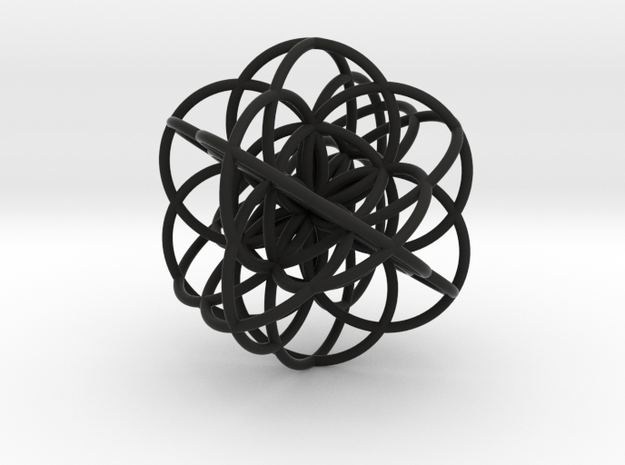 Cuboctahedral Flower of Live Circles - Sacred Geom in Black Natural Versatile Plastic