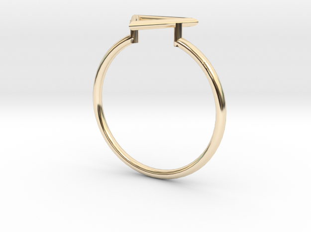 Open Triangle Ring Sz. 9 in 14K Yellow Gold